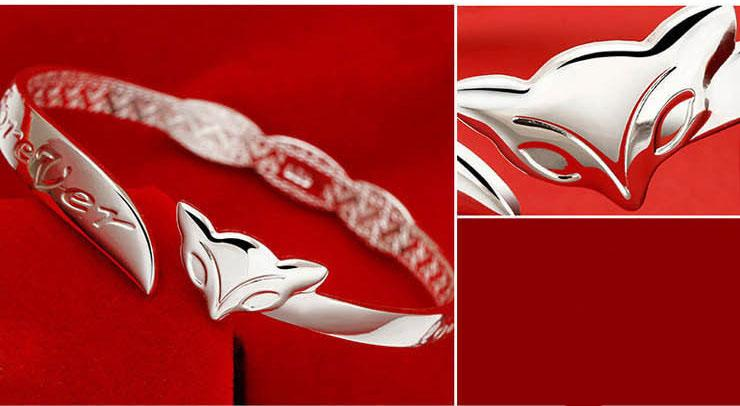 Foxriver Forever Fox Silver Bangles New Hot Cheap 30% 925 Sterling Silver Women White Gold Plating Wedding Bracelet Bangle Opening Jewelry