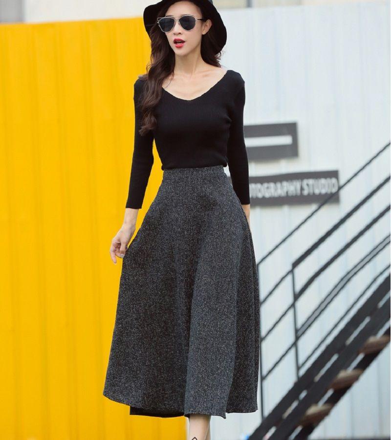 0034a137e85 2016 New Arrival Autumn Winter Maxi Long Skirt High Waist Fashion A ...