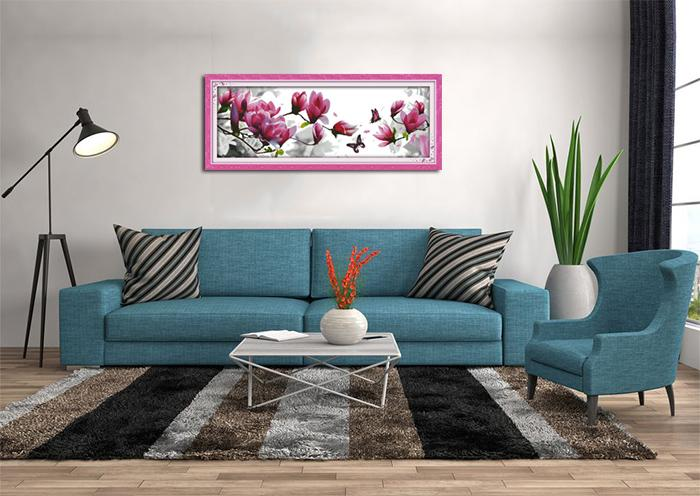 Magnolia flower scenery home decor painting , Handmade Cross Stitch Embroidery Needlework sets counted print on canvas DMC 14CT /11C
