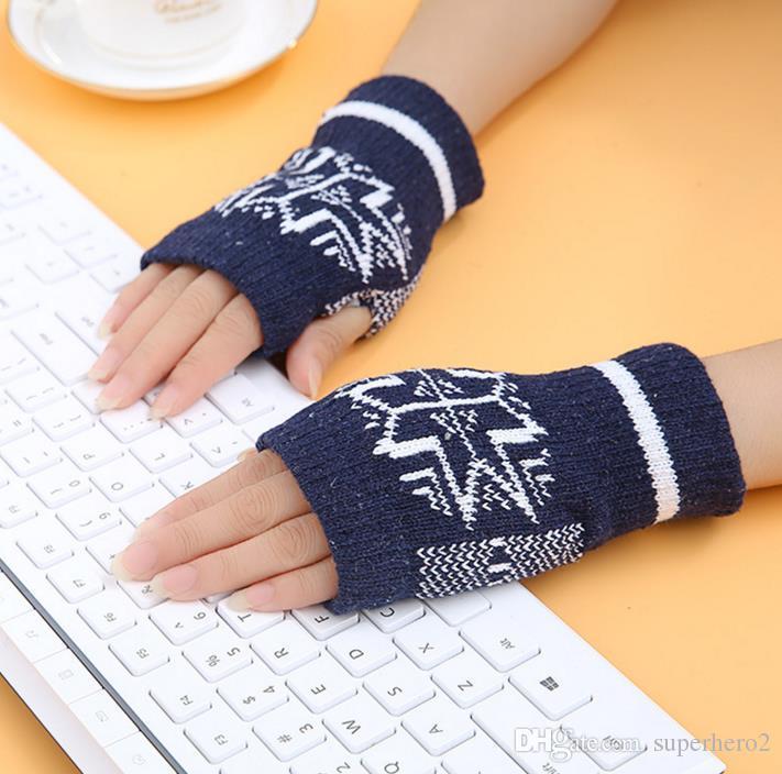 Women Girls Winter Warm Soft hand knitting Fingerless Gloves Half Cuff Elastic Bowknot Star Glove Fashion Accessories