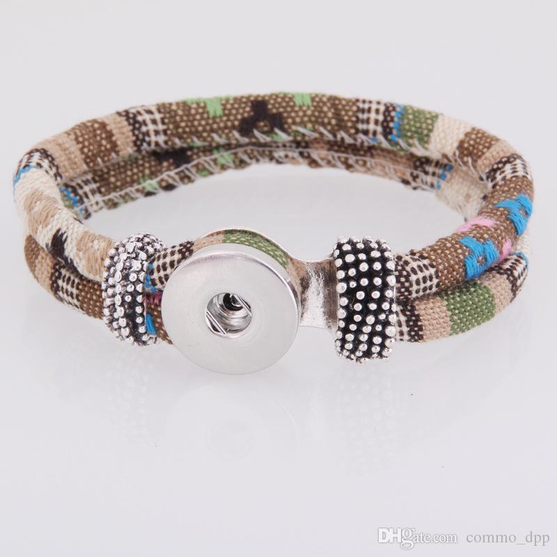 Новый Нуса цвета имбирь оснастки Шарм браслеты 18 мм женская плетеный Канат Оснастки кнопка браслет обруча браслет для моды DIY ювелирных изделий