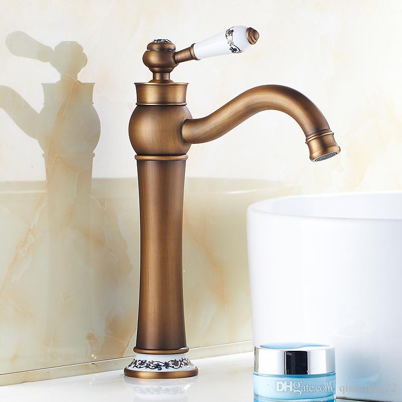 2018 2017 White Porcelain Antique Brass Faucet Bathroom Sink Faucet ...