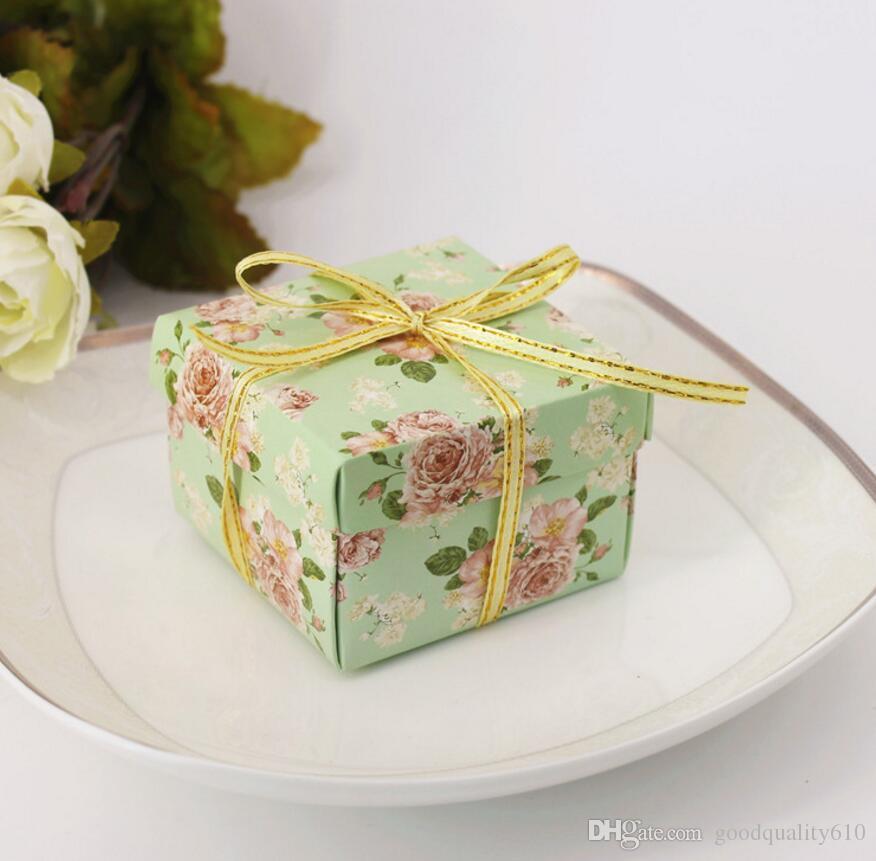 Scatole del cioccolato della scatola di Candy del fiore del cartone con il nastro il regalo di favore della doccia della festa nuziale