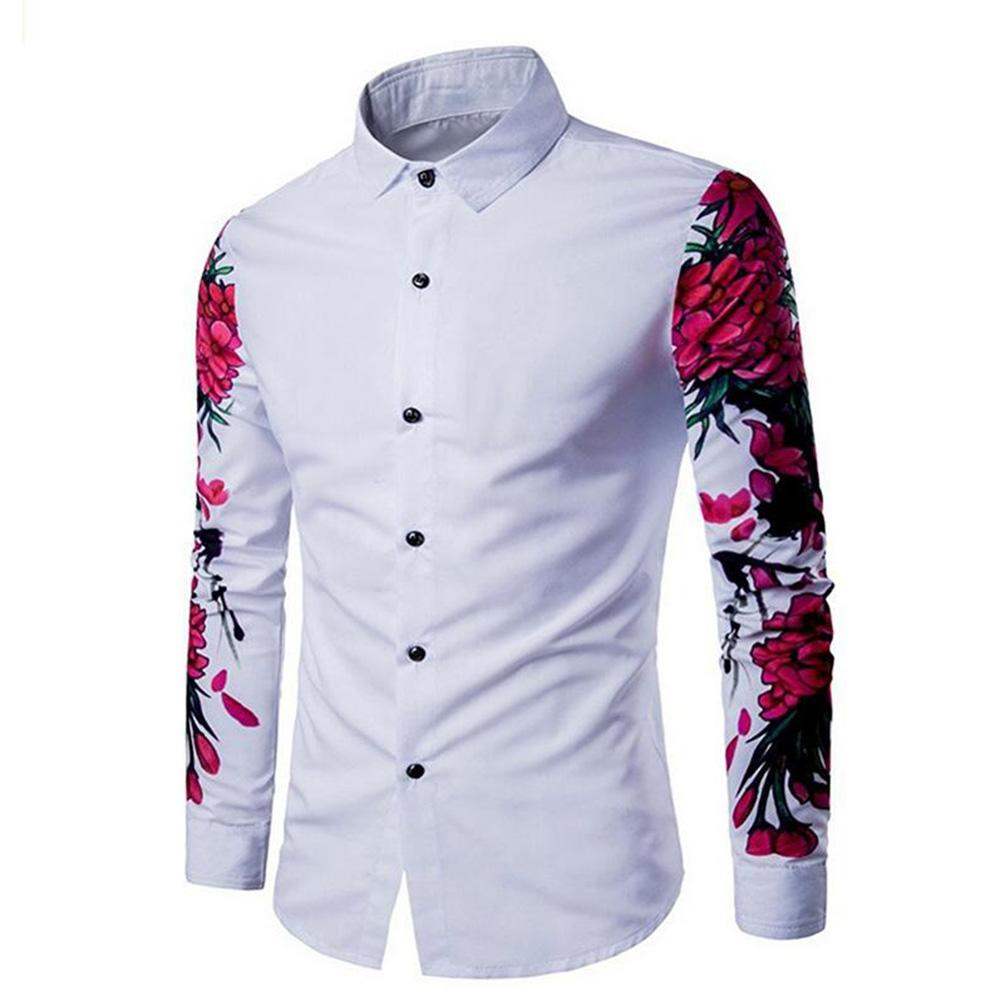 2e53e3c8f0c 2019 New Mens Shirt Cotton Casual Long Sleeve Button Up Slim Fit Floral  Print Shirt Lapel Top From Goldenharvest