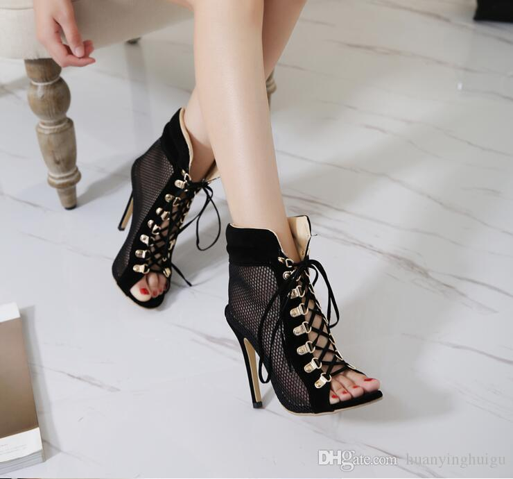 2019 New Summer Autumn Boots Ankle Bootie Women Pumps Open Toe Corss-tied Gladiator Sandals High Top Shoes Woman Heels Pumps SX22