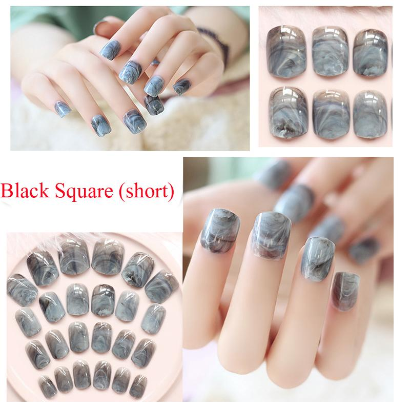 Wholesale- Newest Marble Design Fake Nails French Artificial Nails ...