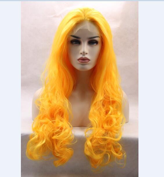 Largo ondulado cosplay peluca delantera de encaje sintético verde color de pelo amarillo Sailor Moon pelucas de pelo completo
