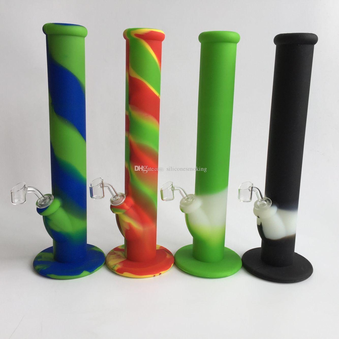 Colorido Bong de silicona 14.2 pulgadas 14.4 mm Conjunto de tubería de agua de silicona con 2 mm de 45 grados de cuarzo y cristal aguas abajo envío gratis