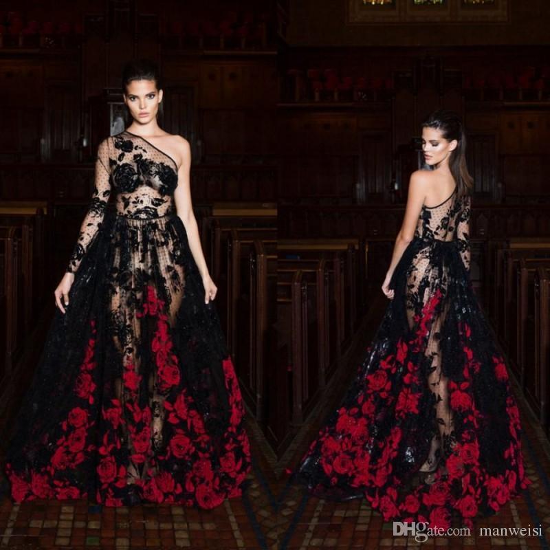 a6fac9b5c9 Sexy Long Sleeve Evening Dresses One Shoulder Lace Applique Printed  Illusion Bodice Black Formal Prom Gowns Black Dress Dresses Online From  Manweisi