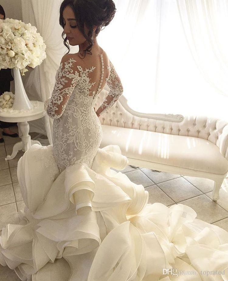 Talla grande Moda Sirena Vestido de novia Llegada Largo de manga larga Muslim Vestido de Noiva Appliques románticos Vestidos de volantes