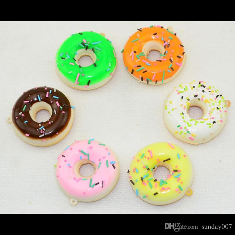 New style 5CM Squishy Mini Donut Key Chain Chocolate Noodles Sweet Roll Phone Charms Straps