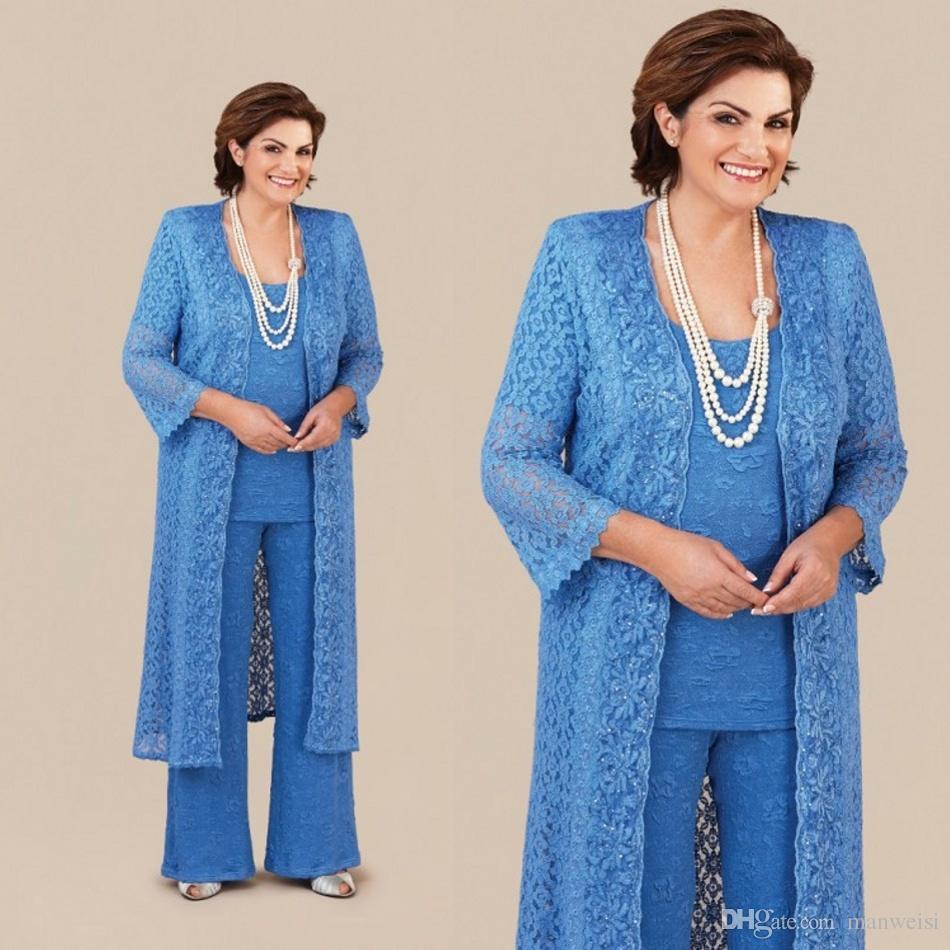 Grosshandel Vintage Mutter Der Braut Hose Anzuge Mit Langen Jacke