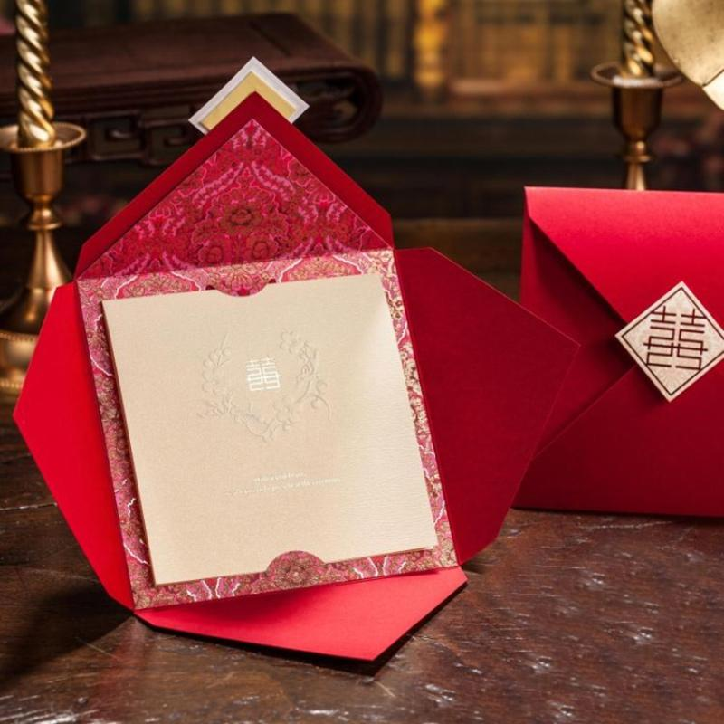 Marriage Wedding Card Customized Red Wedding Invitations Chinese ...