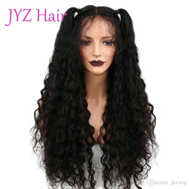 Полное кружевное глубоковолновая волна волосы волосы волос с детскими волосами предварительно сорванные волосы бразильские индийские малайзийские перуанские ремиские волосы кружевные фронтские парики