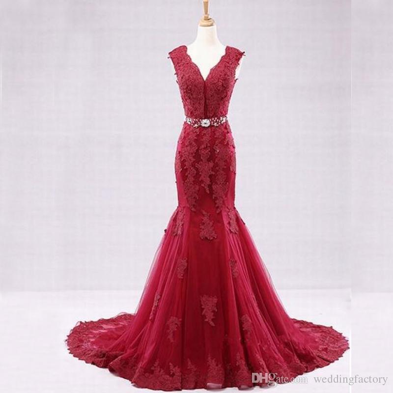 dd2fdae07dca Gorgeous 2017 Red Mermaid Wedding Dress V Neck Sleeveless Beads ...