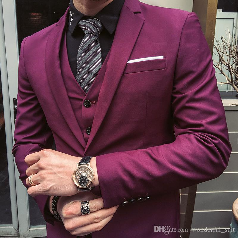 Men Suits 2017 Purple Red Tuxedo Jackets Groom Wedding Suits For Mens Slim Fit Dress Masculino Ternos Homme