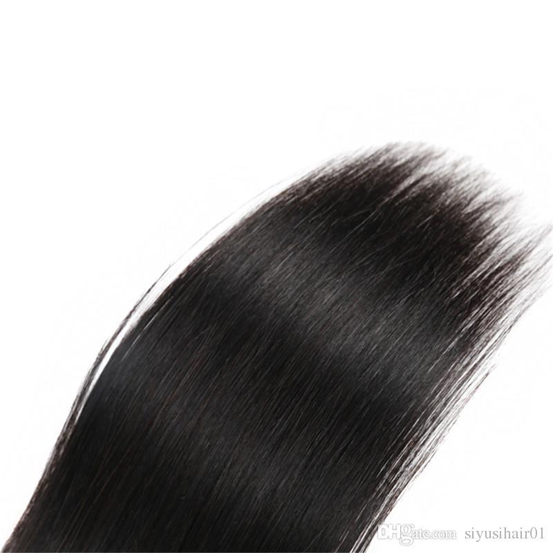 4 * 4 fermeture de la dentelle avec des faisceaux extensions de cheveux non transformés Indien malaisien péruvien brésilien vierge cheveux raides avec fermeture