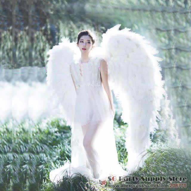 alta di lusso quaity bianco struzzo ali di piume d'angelo sposa bar a casa la decorazione di DIY puntelli bel tiro puntelli trasporto libero di SME