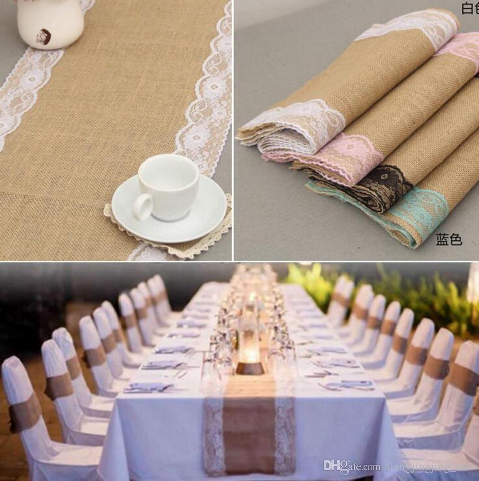 Vintage Burlap Lace Table Runner 275*30cm Jute Decor Tablecloth ...