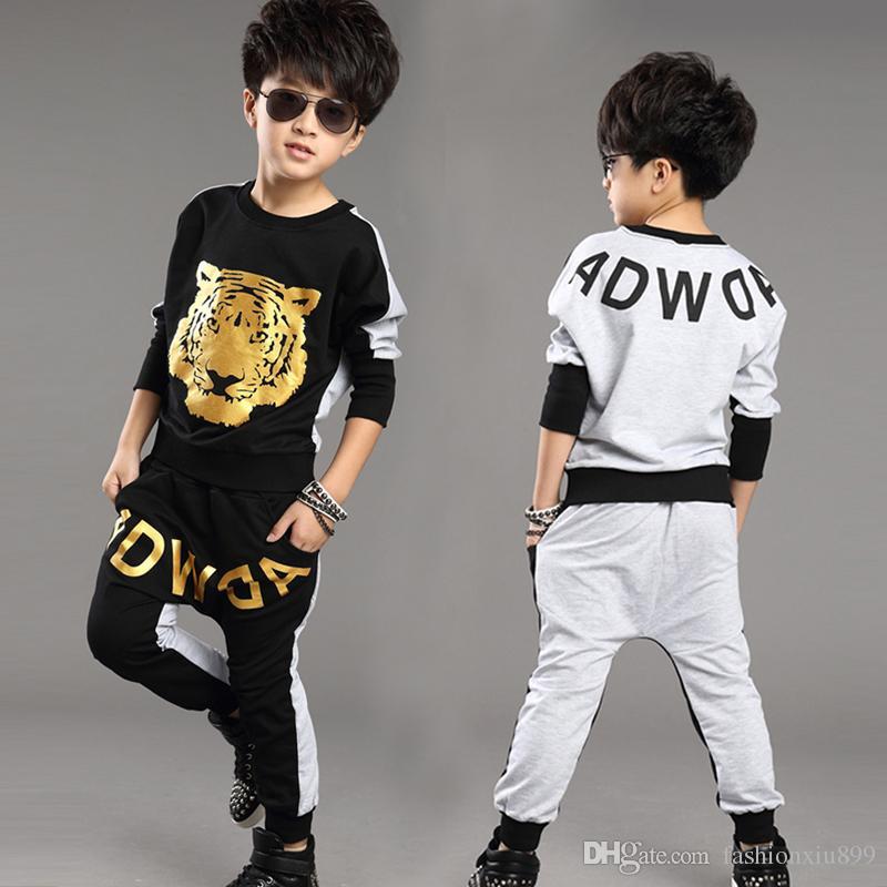 Tiger Printed Boys Girls Clothing Set 2019 Nueva marca de moda Traje deportivo Sudaderas Harem Pantalones Niños Hip Hop Ropa es