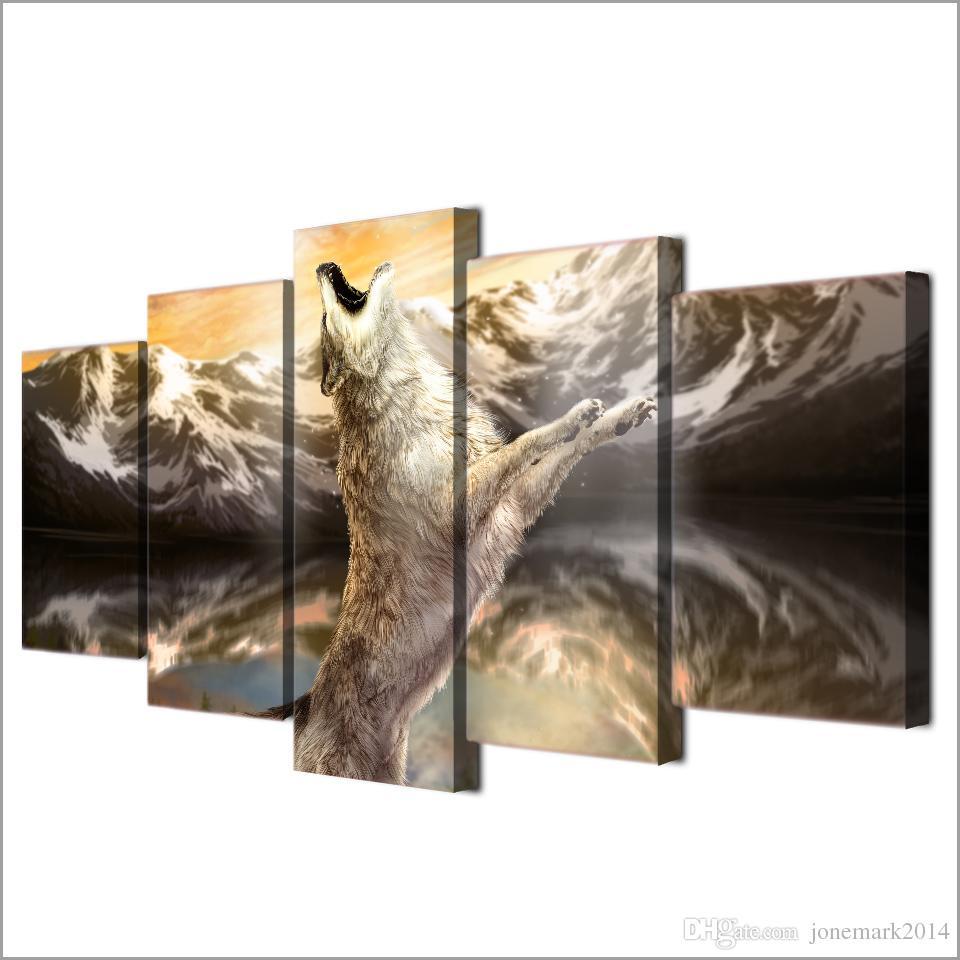 / Ensemble Encadrée HD Imprimé Loup Animal Ciel Criots Moderne Maison Mur Décor Affiche Toile Art Peinture Contemporain Wall Art