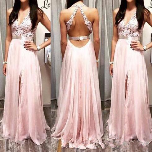 Light Pink Deep V Neck Prom Dresses Lace Top Backless Formal Evening Gowns  A Line Front Split Chiffon Party Dress Prom Dress Designs Prom Dress For  Plus ... c5850c538