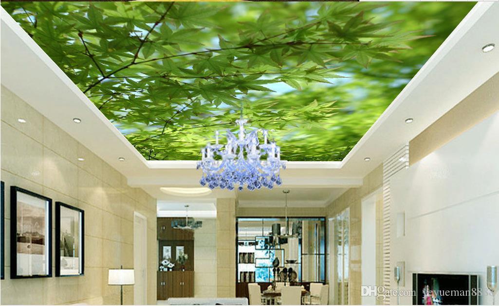 3d personalizzato soffitto foto parete murale Cielo blu e nuvole bianche piccione verde lea parati soffitto soggiorno 3d carta da parati soffitto