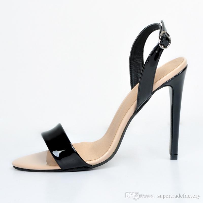 ad689d6d785f Acheter Femmes Simples Sandales Talons Hauts Stilettos Mode Été Chaussures  Noir Et Nude Talons Aiguilles Stilettos Talons