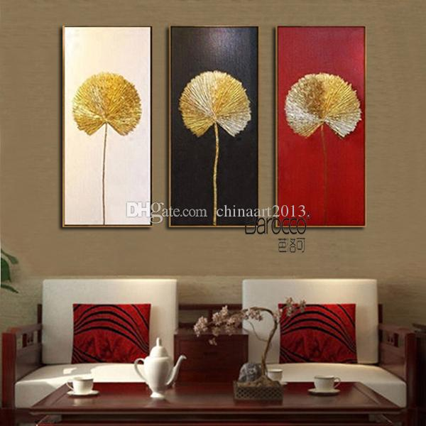 Hand Painted Golden Leaves Oil Painting Modern Simple Home Wall Decoration Gift No Framed