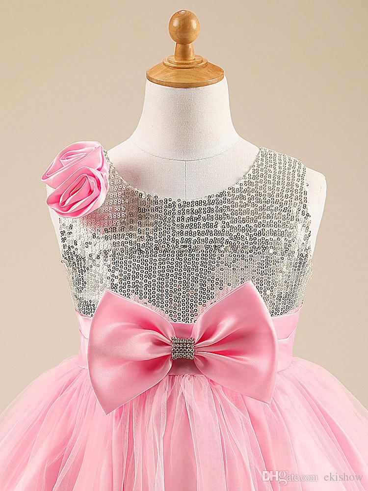 2017 Shiny Girls Lovely Sequin Pink Jewel Sleeveless Flower Girl Dresses With Bow For Weddings Pageant Dresses Vestidos De Comunion