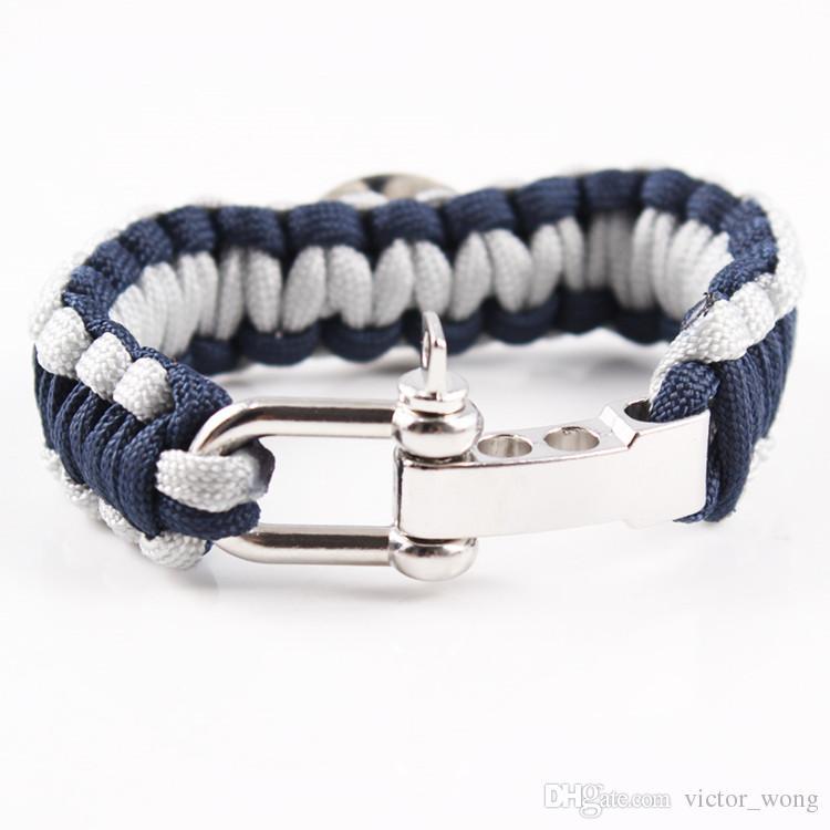Mix Styles Football baseball outdoor Paracord Survival Bracelets U buckle key chains Custom Made Camping Customized logo bracelet