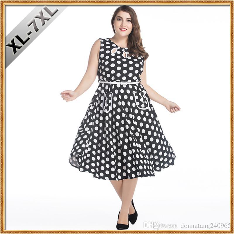 1217f888d992 Ropa de gran tamaño de las mujeres 7XL Moda Retro Estilo Hepburn 50 s  Vestido Vintage Wave Point Vestido de talla grande para mujeres gordas