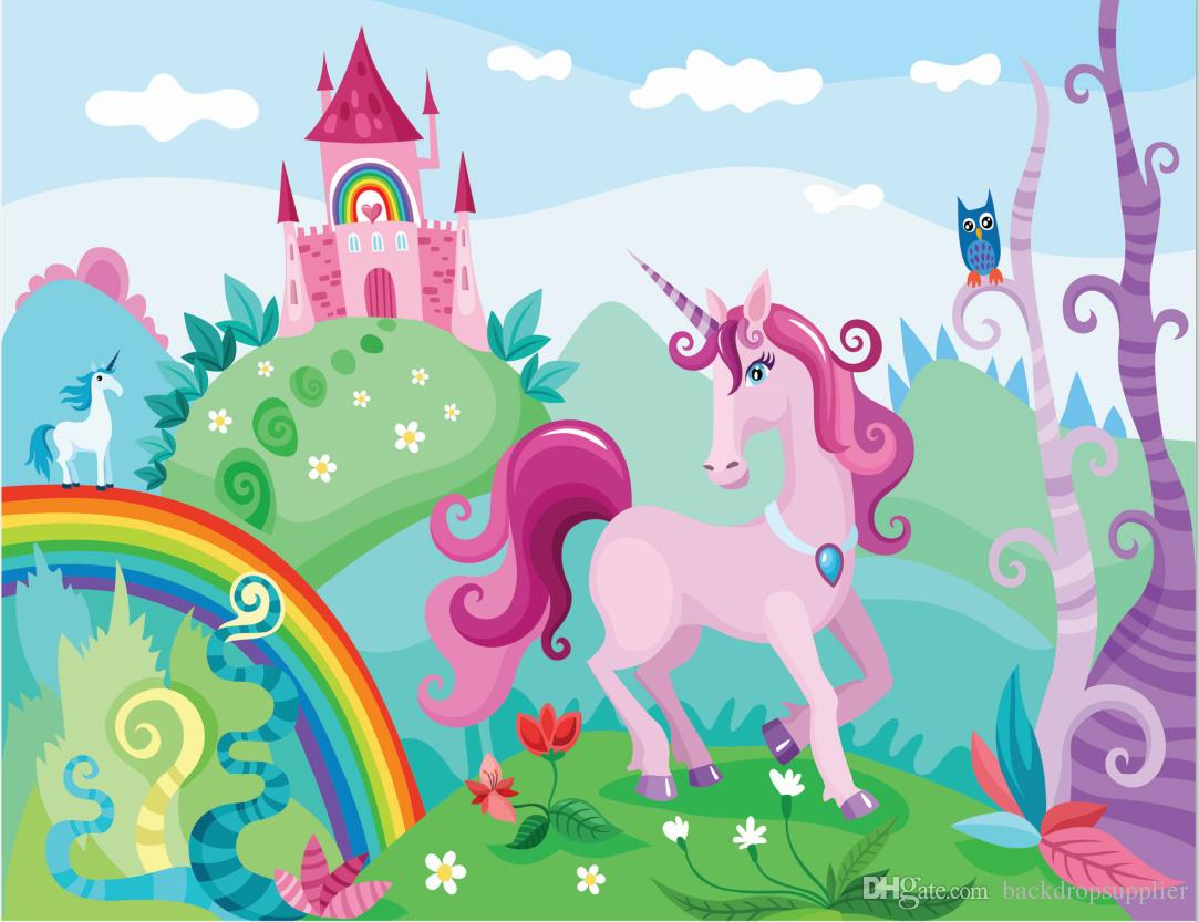 2018 7x5ft Rainbow Sky Pink Castle Unicorn Green Garden