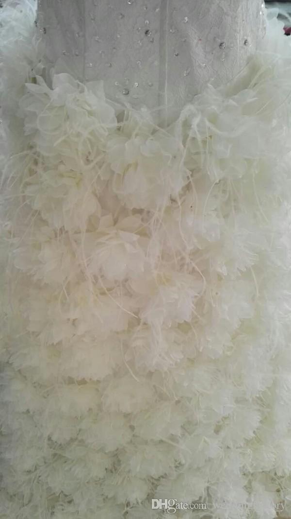 Hochwertige Echtbild High Low Hochzeitskleid Luxus Feder Brautkleider Perlen Pailletten Kristalle Spitze Top Handgemachte Blumen Reißverschluss Zurück