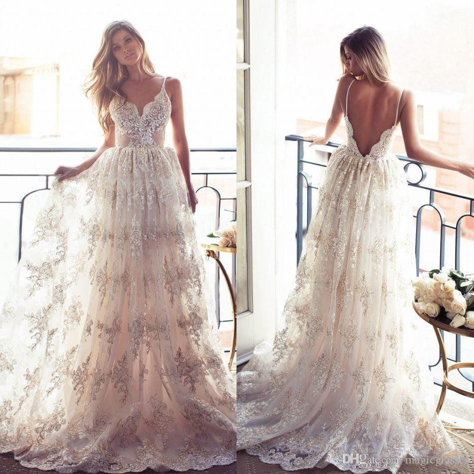 Discount 2017 Vintage Lurelly Belle Full Lace Wedding Dresses Sexy Spaghetti Straps Backless Gowns Sweep Train Beach Garden Bridal