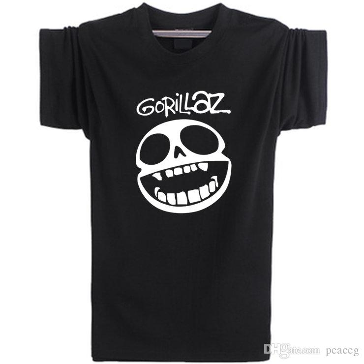 Gorillaz T shirt Virtual singer short sleeve Music rock band tees Leisure  punk clothing Elastic cotton Tshirt