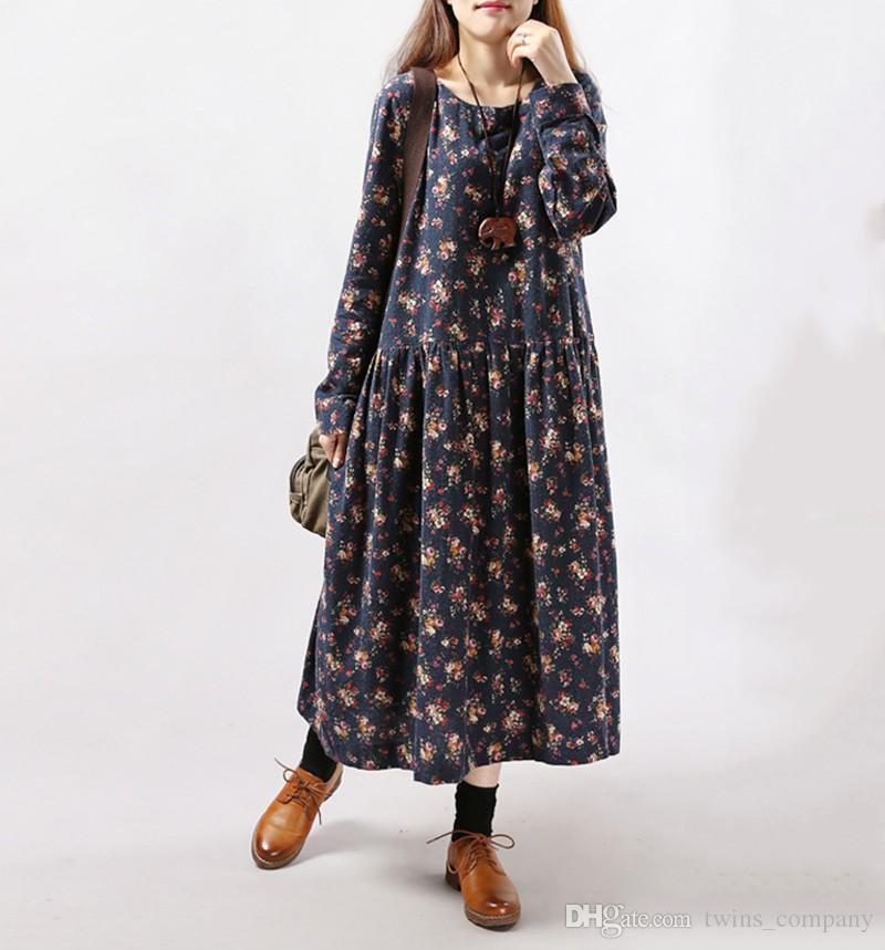 2017 New Style Autumn Winter Women Dresses Vintage Print Casual Long Sleeve Cotton Linen Maxi Dress Swing Floral Big Size Dress
