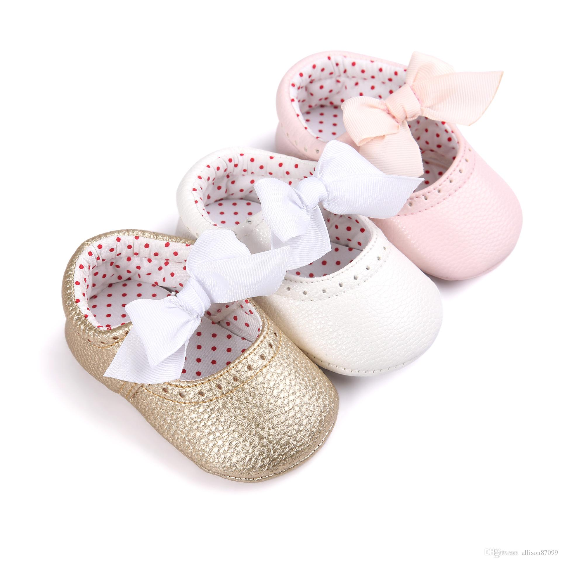 Cute Baby Shoes Girls Princess Polka Dot Mary Jane Sweet Newborn Infant Kids Bebe Very Light First Walkers Bow Wedding Shoes Baby Shoes First Walkers