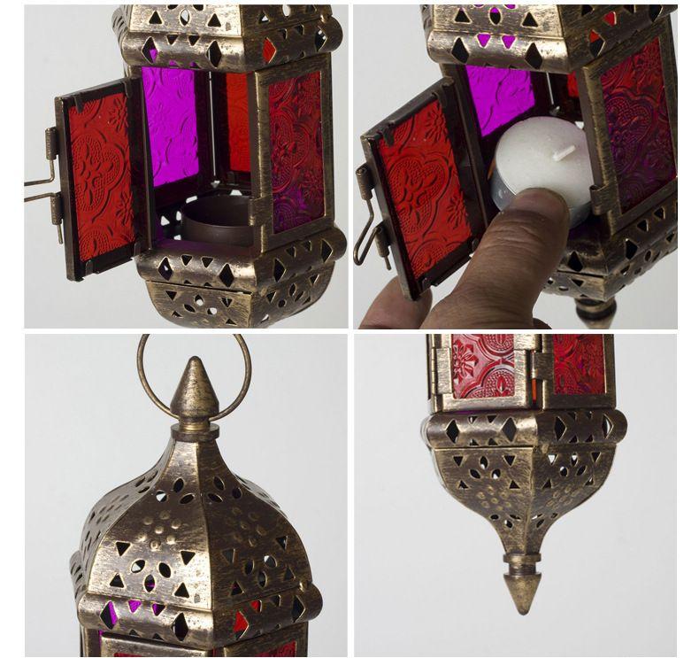 Artículos del sostenedor de la vela del hueco del metal de la vendimia blanco candelero europeo marroquí que cuelga la linterna decoración de la boda