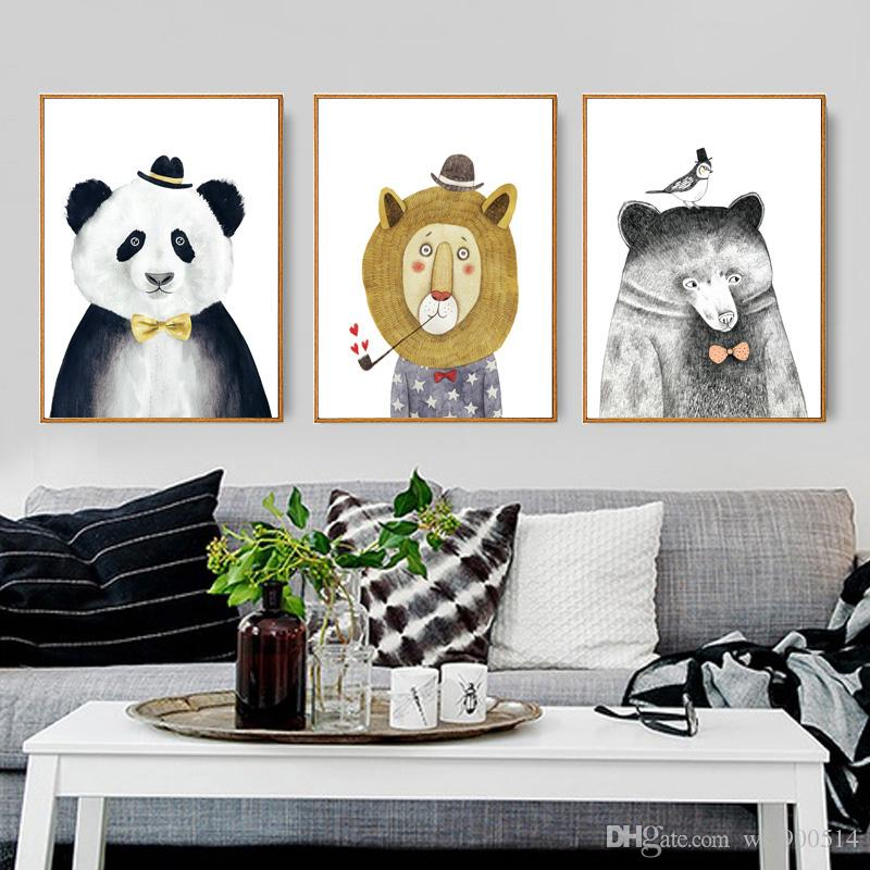 2017 triptych watercolor nordic animal lion bear panda art prints poster hipster wall picture canvas painting kids room home decor from wlz900514