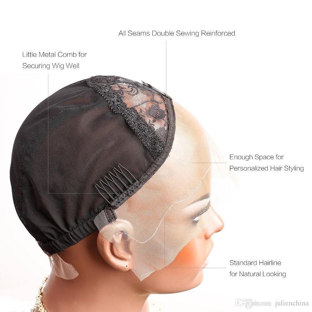 Bella Hair Professional Lace Front Wig Caps for Making Wig with Adjustable Straps and Combs Swiss Lace Black Medium Size