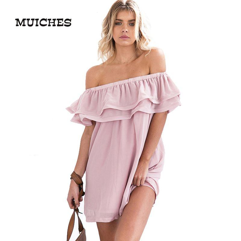 1041b414329 MUICHES Chifon Ruffle Short Dress Women Off Shoulder Sleeveless ...