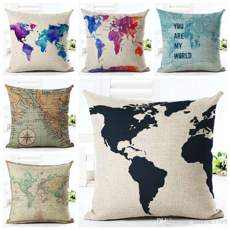 Vintage world map cushion cover decorative colorful chaise chair vintage world map cushion cover decorative colorful chaise chair throw pillow case linen fabric almofadas 45cm cojines world map vintage throw pillow case gumiabroncs Choice Image