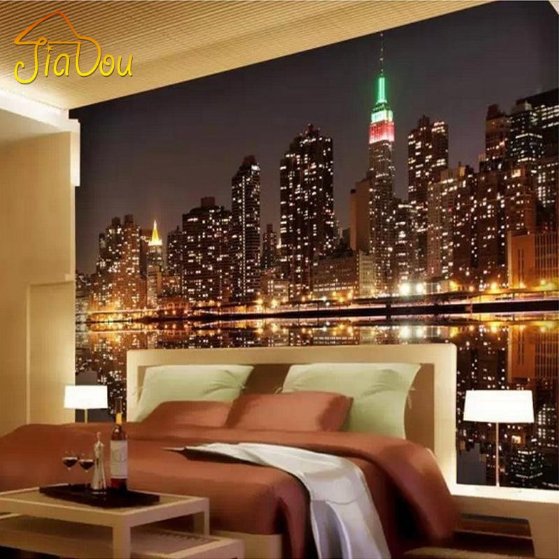 . Wholesale High Quality Custom 3D Photo Wallpaper City Night View Living  Room TV Backdrop Home Decor Mural Wallpaper For Bedroom Walls 3D