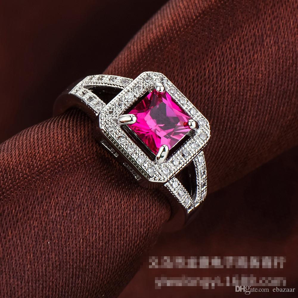 NICE Jewelry Ruby Diamonique Cz Gold Plated Wedding Engagement Band Ring Sz6-10