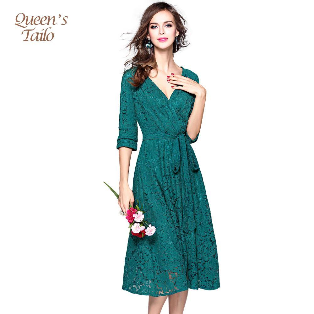 Queen\'S Tailo Woman Quality Solid Green/Red Big Hem Deep V Neck Ol ...