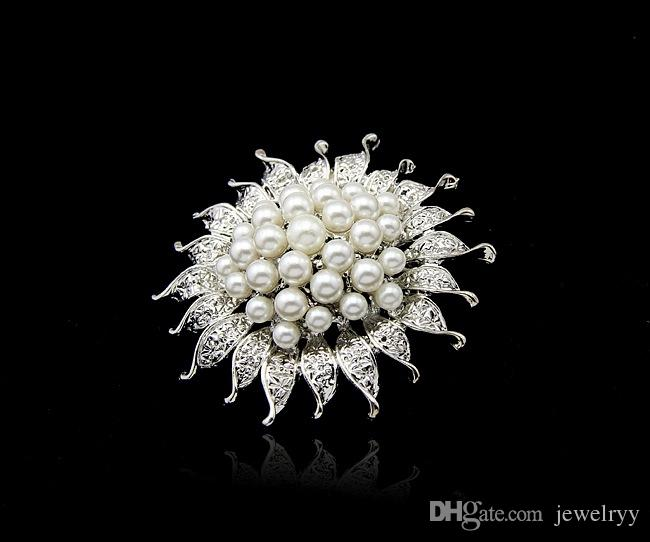 Shining Bridal Brooches Wedding Jewelry Luxury Imitation Rhodium Plated Sunflower Pearl Pins Brooch for Bridesmaid Party Accessories