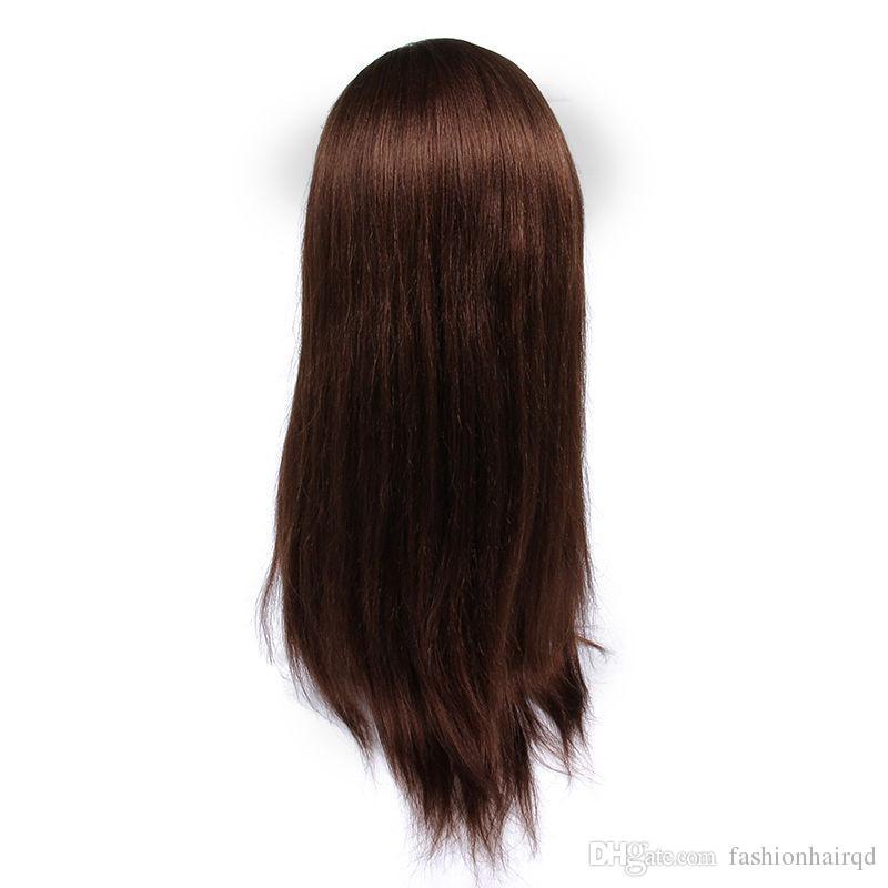 Pas cher Yaki Straight Virgin Full Lace Perruques de Cheveux Humains # 4 Brown Raw Indien Cheveux Lumière Yaki Glueless Lace Front Perruques Avec Cheveux De Bébé