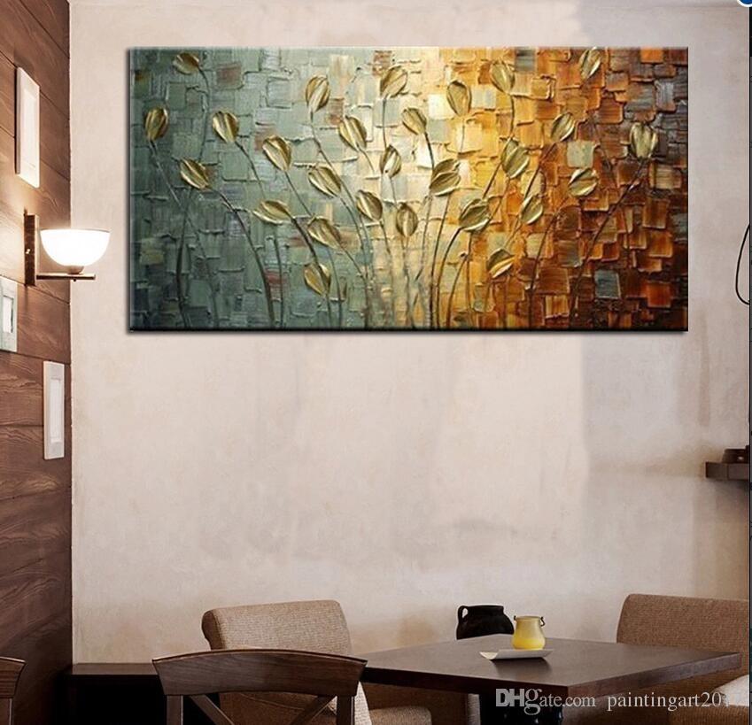 Peint à la main pure peinture à l'huile sur toile moderne or fleurdecorative mur photos moderne populaire cadeau décoration à la maison