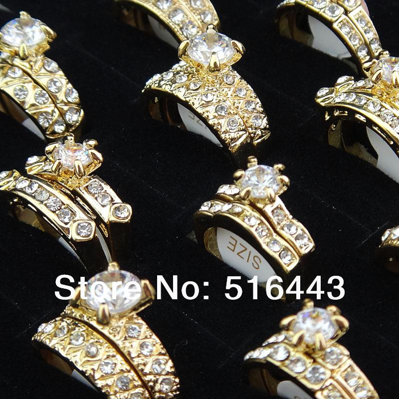 Big Promotions 20pcs Upscale Jewelry Cubic Zirconia 18K Gold P 2 in 1 Engagement Wedding Womens Mens Rings A-907